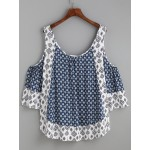 Blue Navy Crochet Hem Hollow Out Open Shoulder Blouse Shirt