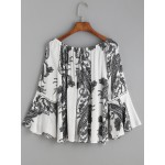 White Black Paisley Print Round Neck Bell Sleeve Top