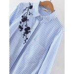 Blue White Stripes Flower Embroidery High Low Long Sleeves Blouse