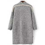 Grey Open Side Pocket Long Coat Cardigan