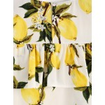 White Yellow Print Summer Leaves Ruffle Top Shirt