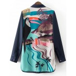 Navy Blue Pink Birds Painting Long Sleeves Chiffon Blouse