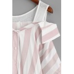 Pink White Stripes Contrast Open Shoulder Sleevesless Shirt Blouse