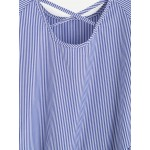 Blue Stripes Short Sleeve Back Ruffle Top Blouse