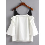 White Black Bell Sleeves Off Shoulder Blouse