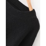 Black Round Neck Loose Split Side Sweater Knitwear