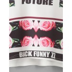 White Floral Roses Cropped Long Sleeves Sweatshirt