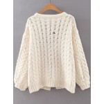 White Cable Knitted Pattern Sweater Coat