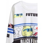 White Cartoon Future Long Sleeves Cropped Sweatshirt