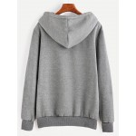 Grey Pocket Drawstring Hooded Hoodie Sweatshirt