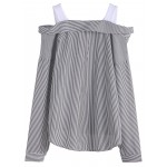Black White Lines Open Shoulder Shirt Blouse