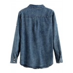 Blue Denim Jeans Pockets Stone Wash Shirt Blouse
