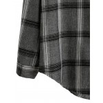 Grey Black Plaid Square Drop Shoulder Pocket Long Sleeves Shirt