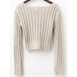 Pink Ribbed Round Neck Long Sleeves Sweater