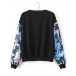 Black Blue Cartoon Florals Long Sleeves Sweatshirt