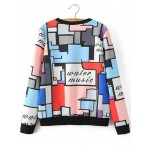 Rainbow Multi Color Water Music Abstract Painting Patchwork Long Sleeves Sweatshirt