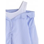 Blue White Off Shoulder Vertical Stripes Layered Long Sleeves Blouse Shirt