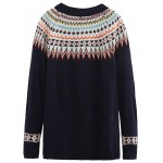 Black Colorful Print Raglan Long Sleeves Sweater