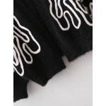 Black White Print Batwing Sleeve Cardigan Jacket