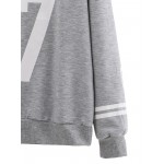 Grey 87 White Striped Long Sleeves Sweatshirt