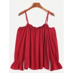 Burgundy Red Cold Shoulder Sleeveless Shirt Top