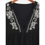 Black Bohemia Deep V Bell Sleeves Embroidered Blouse Shirt