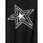 Black Star Long Sleeves Ripped Sweatshirt