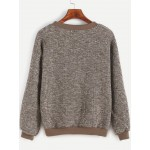 Brown Khaki Textured Long Sleeves Sweatshirt
