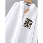 White Leopard Pocket Long Sleeves Shirt Blouse