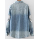 Blue Embroideried Long Sleeves Denim Jeans Blouse Shirt Top