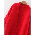 Red Loose Open Front Shoulder Cardigan Sweater