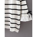 White Black Striped Ruffle Sleeve Long Sleeves Sweater