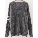 Grey Stripes Loose Button Up Jacket Cardigan Sweater