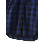 Blue Plaid Checkers Country Boyfriend Long Sleeves Blouse