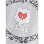Grey I Heart Social Not Working Cropped Long Sleeves Sweatshirt