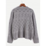 Grey Drop Shoulder Loose Winter Cable Knit Sweater
