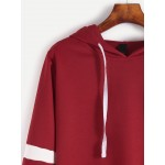 Burgundy Alien Embroidered Hooded Hoodie Striped Sweatshirt