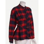 Red Checkers Scotland Plaid Peplum Top Shirt With Belt