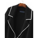 Black White Lines Edge Open Front Long Sleeves Sweater Coat