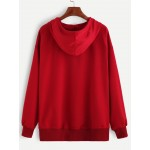 Red Hooded Hoodie Long Sleeves Sweatshirt