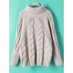 White Cable Knit Turtleneck Long Sleeves Loose Sweater