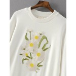 White Daisy Flowers Embroidered Bell Long Sleeve Sweatshirt