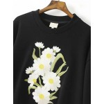 Black Daisy Flowers Embroidered Bell Long Sleeve Sweatshirt