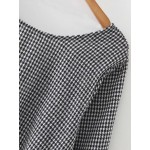 Black White Checkers Houndstooth V Back Cropped Blouse Top Shirt
