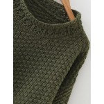 Green Dark Loose Crew Winter Neck Sweater