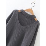Grey Long Sleeves V Neck Zipper Winter Sweater