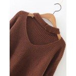 Brown V Neck Loose Zipper Long Sleeves Sweater