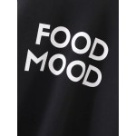 Black FOOD MOOD Print Long Sleeves Crew Neck Sweatshirt