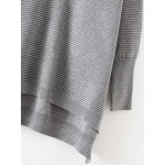 Grey Round Neck High Low Sweater Knitwear