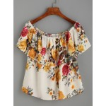 Beige Flower Floral Print Ruffled Off Shoulder Short Sleeves Shirt Top